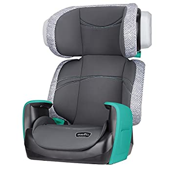 Evenflo Spectrum 2-in-1 Booster Seat Ergonomic Seat Base Machine Washable High-Back Booster No-Back Booster Advanced Compression Technology Side-Impact Tested Teal Trace