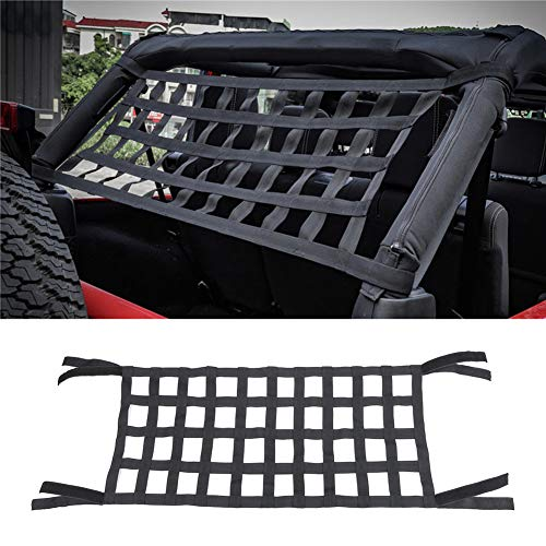 Cargo Roof Top Soft Cover Rest Bed Hammock for Jeep Wrangler JK 07-18, Heavy Duty Roof Storage Roll Cage Bar Restraint (Black)