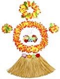 Fighting to Achieve 30cm Hawaiian Grass Skirt Performance Costume Set for Girls