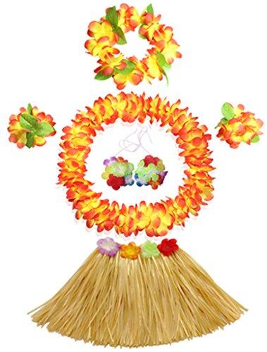 Fighting to Achieve 30cm Hawaiian Grass Skirt Performance Costume Set for Girls