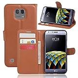 JARNING Compatible con LG X CAM K580 K580F K580ds F690 Fundas de PU Cuero Flip Leather Wallet Case Cover Carcasa Funda con Ranura de Tarjeta Cierre Magnético Kikstand -marrón