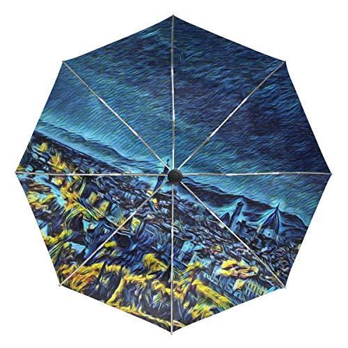 Paraguas automático Van Gogh Cityscape azul amarillo resistente al viento impermeable protección UV compacto paraguas de viaje – 3 pliegues auto apertura y cierre botón sol y lluvia paraguas para coche