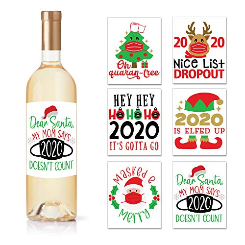 Christmas Ideas Wine Bottle Labels - Set of 6 Wine Labels for Bottles, Christmas Gifts for Women, Men, Family, Coworker, Neighbor, Friend, Mom - 2020 Holiday Stickers with Santa & Elf Designs