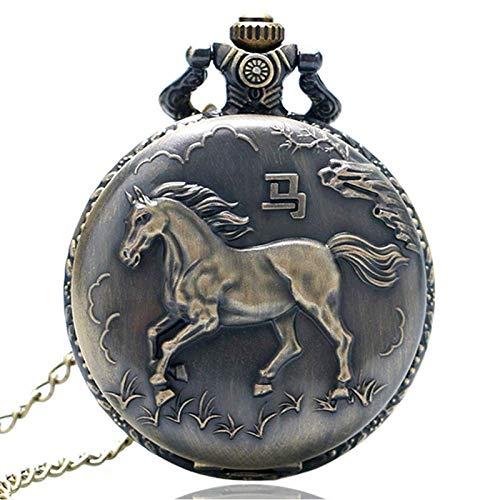 FZYE Reloj de Bolsillo Bronce Vintage Zodiaco Caballo Collar de Cuarzo Colgante Relojes Fob para Hombres Mujeres cumpleaños para niños