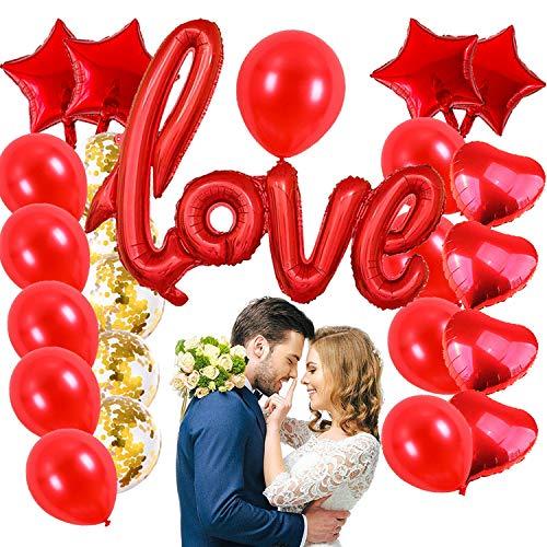 Kit San Valentino 2021 Decorazioni,27 PCS Kit Romantico,Love XXL Rosso, Palloncini a Forma di Cuore, Palloncini Coriandoli - Decorazioni per Matrimonio, San Valentino e Fidanzamento (rosso)