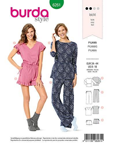 Burda Schnittmuster 6261, Pyjamas [Damen 34-44] zum selber nähen, ideal für Anfänger [L2]