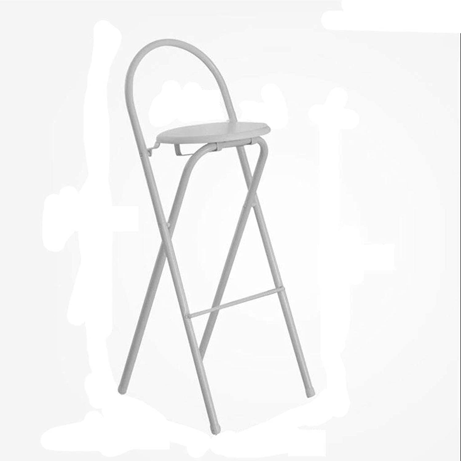 Bar High Folding Chair Home Back Dining Chair Adult Portable Bar Cafe Simple Stool(45.5  36  97cm) (color   White)