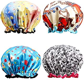 Shower Caps, ESARORA 4 PACK Extra Large Bath Caps Perfect for all Hair Lengths and..