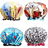 Shower Caps, ESARORA 4 PACK Extra Large Bath Caps Perfect for all Hair Lengths and Thicknesses - Waterproof - Double Layer