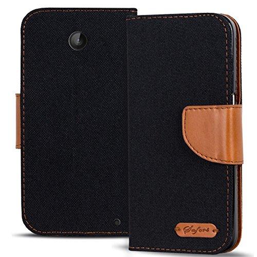 Conie Nokia Lumia 630 Hülle für Lumia 630 Tasche, Textil Denim Jeans Erscheinungsbild Booklet Cover Handytasche Klapphülle Etui mit Kartenfächer, Schwarz