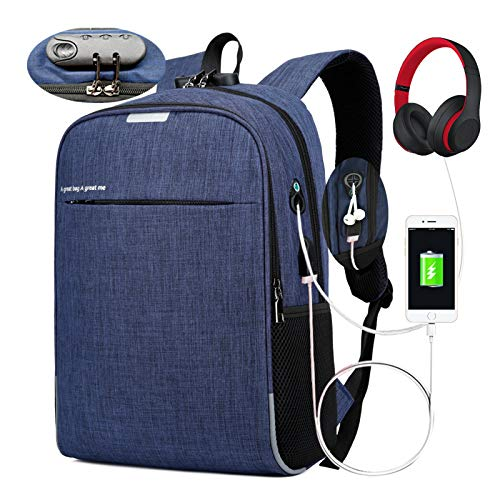 Laptop Backpack for Women and Men Reflective Backpack for Riders and Outdoor Anti-Theft Travel College School Bookbag with USB Charging Port Earphone Hole Computer Bag Fits 15.6-Inch Laptop