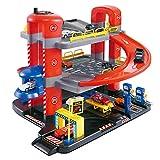 MAJOZ0 Aparcamiento de 3 pisos para niños, garaje de ciudad con 6 minicoche, tren de carreras, juguete para niños