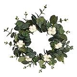 Corona decorativa para puerta de Navidad, de eucalipto artificial, de algodón, vintage, para todo el año, decoración para puerta, para exterior, boda, Navidad, decoración