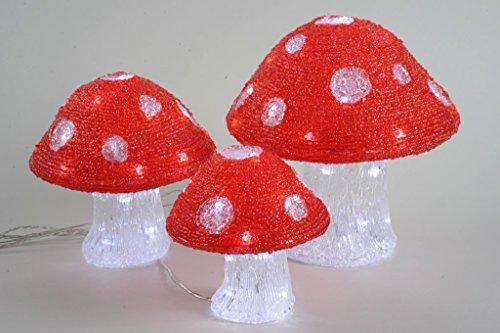Lumineo LED Acryl Pilz aussen Beleuchtung, 3 sortiment 492069