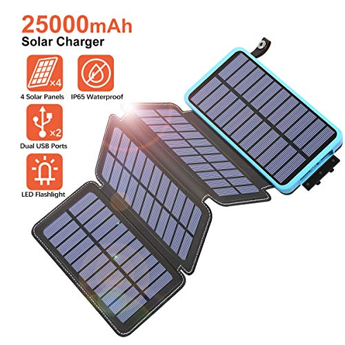 Tranmix Solar Charger 25000mAh Power Bank with Dual Output Waterproof Phone Charger Compatible with Smart Phones, Tablets and More