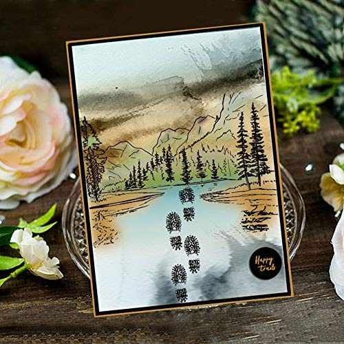 LZBRDY 6.7 by 8.9 Inch Trees Forest Mountain Boat in The River Adventure Boots Footprint Stamp and Die Set for Scrapbooking Card Making Compass Dog Wood Road Sign Silicone Clear Stamps and Dies