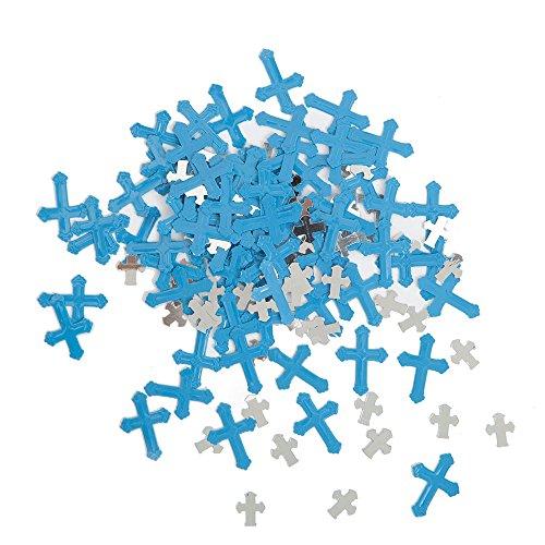 Unique Party - Confeti Metálico - Diseño Religioso Cruzado Radiante - Color Azul (43830)