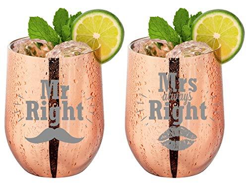 Trinkbecher Kaffeebecher Rose Gold - Mr Right & Mrs Always Right - Geschenk für Paare - Hochzeitsgeschenk für Brautpaar - Sicherer Verschluss - Kühl & Warmhalte-Funktion | Material: Edelstahl