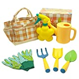 Malifea Kids Gardening Tool Set Colorful Children Garden Tools Fun Toys with Watering Can Gardening Gloves Shovel Rake Trowel Real Water Sprayer Garden Tote Bag - Gifts for Boys and Girls