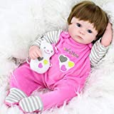 WYZQ Reborn Dolls, Simulation Reborn Baby Silicone 45cm Blue Eyes Cute Doll Girl Baby Soft Plastic Child Play House Early Learning Baby Toy, 45cm, Nourrir Poupées Nourrir Poupées