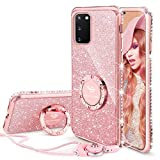 OCYCLONE Galaxy S20 Case, Glitter Luxury Cute Phone Case for Women Girls with Kickstand, Bling Diamond Rhinestone Bumper with Ring Stand Protective Pink Case for Galaxy S20 [6.2 inch] 2020 - Rose Glod