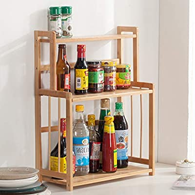 3-Tier Wood Spice Rack Standing Kitchen Counter...