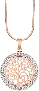 """PJ Tree of Life Pendant Necklace for Women - 2019 Fashion Jewelry Austrian Crystal Rose Gold, Silver Color 16.5""""Chain, Gifts for Mom"""