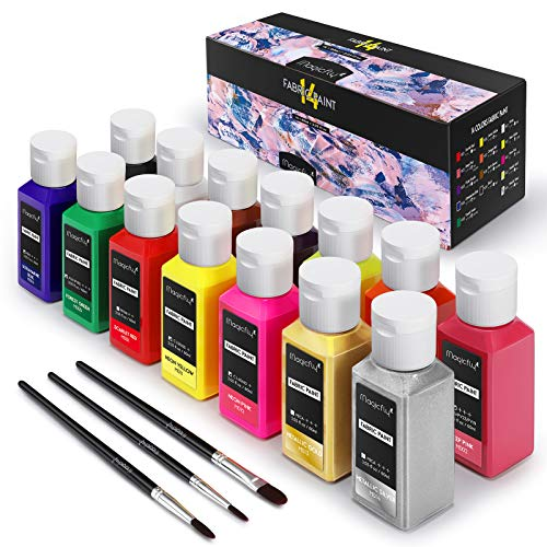 Magicfly Permanent Soft Fabric Paint Set, Set of 14(60ml Each) Textile Paints with 3 Brushes, No Heating Needed & Washable Fabric Paint for Clothes, Canvas, T-Shirts, Jeans, Bags, All DIY Projects