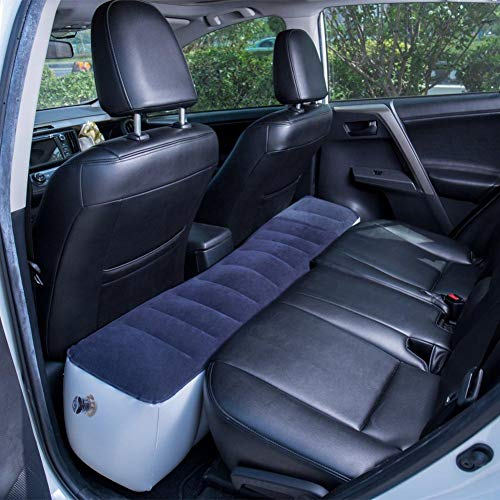 globalqi Auto Luftmatratze, Aufblasbare Rücksitz Lücke Isomatte Luftbett Kissen mit Motorpumpe für Auto Reise Camping (Blau)