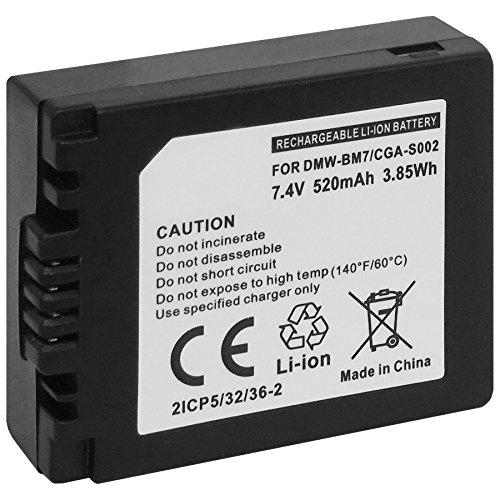 Batterie CGA-/CGR-S002, DMW-BM7 pour Panasonic Lumix DMC-FZ1, FZ2, FZ3, FZ4, FZ5