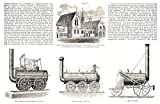 Caption below print: 'The Stephenson Memorial Institute, on the site of Stephenson's cottage, at Willington Quay; the first locomotive engine; the Royal George; the Rocket'. George Stephenson, the Father of Railways Condition: Good; suitable for fram...