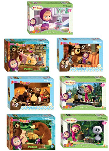 Toys Children Mosaic stepPuzzle Masha and the Bear 4 Mini Box Random Puzzle Contains 54 Items 10cm 4inch