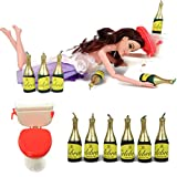 Drunk Doll Cake Topper Funny | Decoration Kit for Celebrating a Bachelorette Party or any Birthday 21 and Up (8 Piece Set)(Not Edible)(Barbie like)(Brunette)
