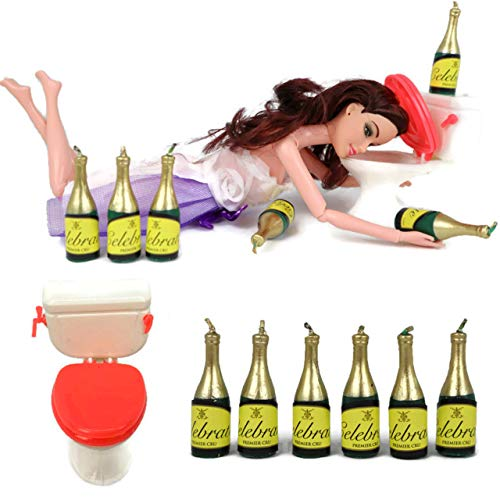 Drunk Doll Cake Topper Funny   Decoration Kit for Celebrating a Bachelorette Party or any Birthday 21 and Up (8 Piece Set)(Not Edible)(Barbie like)(Brunette)