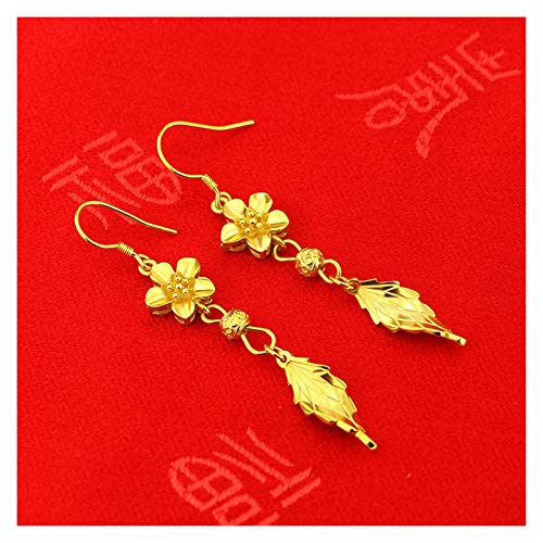SFQRYP New gold wedding celebration double happiness flower necklace dragon phoenix bracelet ring earrings simulation gold-plated jewelry jewelry set (Color : D)