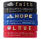 (6-Pack) Faith Hope Love Scripture Bracelets - Pack of 6 Silicone Rubber Wrist Bands in Unisex Design -...