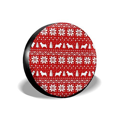 Usting Tire Cover, Zonbescherming En Regen Bescherming Band Cover, Gepersonaliseerde Tire Cover,Norwich Terrier Silhouettes Kerst Trui Patroon, (4 Maten Optioneel)