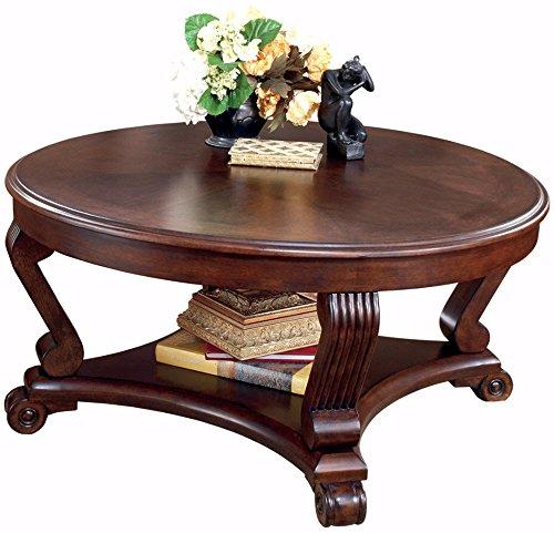 Ashley Brookfield Round Coffee Table in Dark Brown