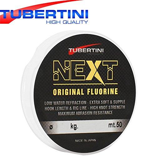 Tubertini Fluorine 50m - Vorfachschnur zum Forellenangeln, Schnur für Drop Shot Rigs, Angelschnur für Stippvorfächer, Durchmesser/Tragkraft:0.18mm / 4.03kg Tragkraft