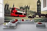 Fotomural Vinilo Pared Autobús Big Ben Londres | Fotomurales Pared | Fotomural Decorativo | Vinilo Decorativo | Varias Medidas 200 x 150 cm | Decoración comedores Salones | Motivos Paisajisticos