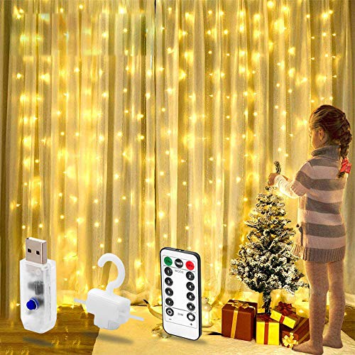 200 LED Curtain Lights USB Powered, 3m x 2m Warm White Bedroom Fairy Lights, 8 Modes, String Lights Plug in for Indoor Outdoor,Wall, Wedding Birthday Party, Christmas, Tent Decoration Wedding, Gazebo