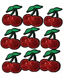 Ximkee(10 Pack) Delicious Red 2 Cherries Sequin Sew Iron On Embroidered Patches Appliques