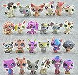 JiYanTang 24 Unids/Set Pet Shop Toy Mini Little Animal Dolls Rare Pet Shop Figuras de acción Tiger Cat Dog Dachshund Collie Cat Canina Toy A-24pcs
