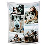 Personalized Throw Blanket. Custom Blanket with 1-9 Photo Collages. Customized Blankets for Family, Friends, Dogs or Pets, Used as Souvenirs and Gifts (32X48in(80x120cm), 5 Photos Collage)