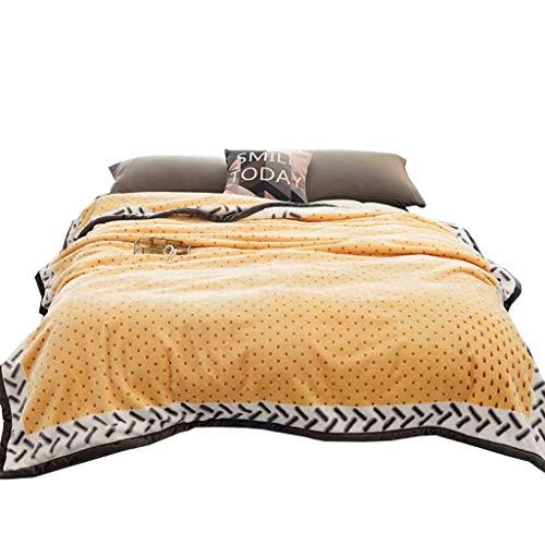 MAOTAN deken, dubbele laag warme flanellen lakens, omkeerbaar gooien deken, zacht en glad, anti-rimpel en anti-pilling, 200 * 230Cm (3Kg) geel
