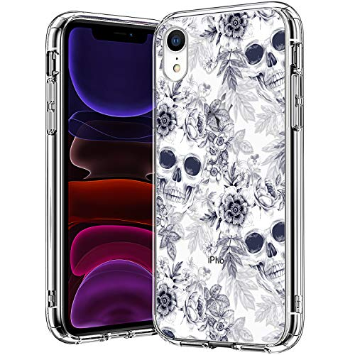 BICOL iPhone XR Case,Skull Pattern Clear with Design for Girls Women Transparent Plastic Hard Back Cover with Soft TPU Bumper Protective Phone Case for Apple iPhone XR
