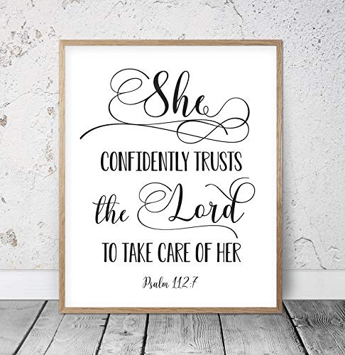 tian huan88 8x12 Wood Framed Sign She Confidently Trusts The Lord Psalm 112:7 Bible Verse Wall Art Christian Gifts Religious Nursery Bible Quotes Scripture Prints