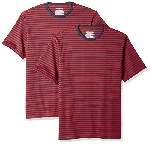 Amazon Essentials - Camiseta de manga corta holgada con cuello redondo y diseño a rayas para hombre, Rojo/azul marino, Medium, (Pack de 2)