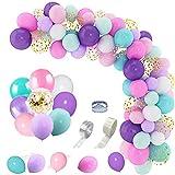 158pcs globos de unicornio y guirnalda de globos de sirena confeti dorado, blanco, violeta, rosa, azul claro, globos de látex para bodas, unicornio, sirena, decoraciones para fiestas de cumpleaños