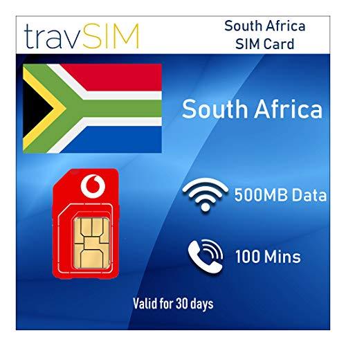 travSIM Prepaid Vodacom SIM-Karte für Südafrika - 500 MB gültig 30 Tage (Die SIM-Karte enthält 100 Minuten für internationale Anrufe in mehr als 30 Länder, und Mobile Daten bis 3G 4G Geschwindigkeit)